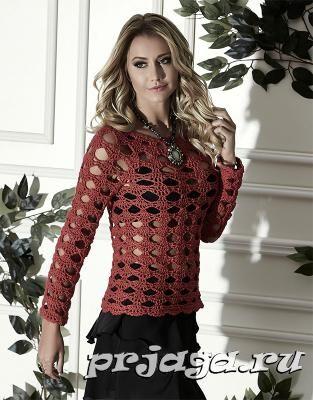 Ажурный пуловер крючком, схема вязания