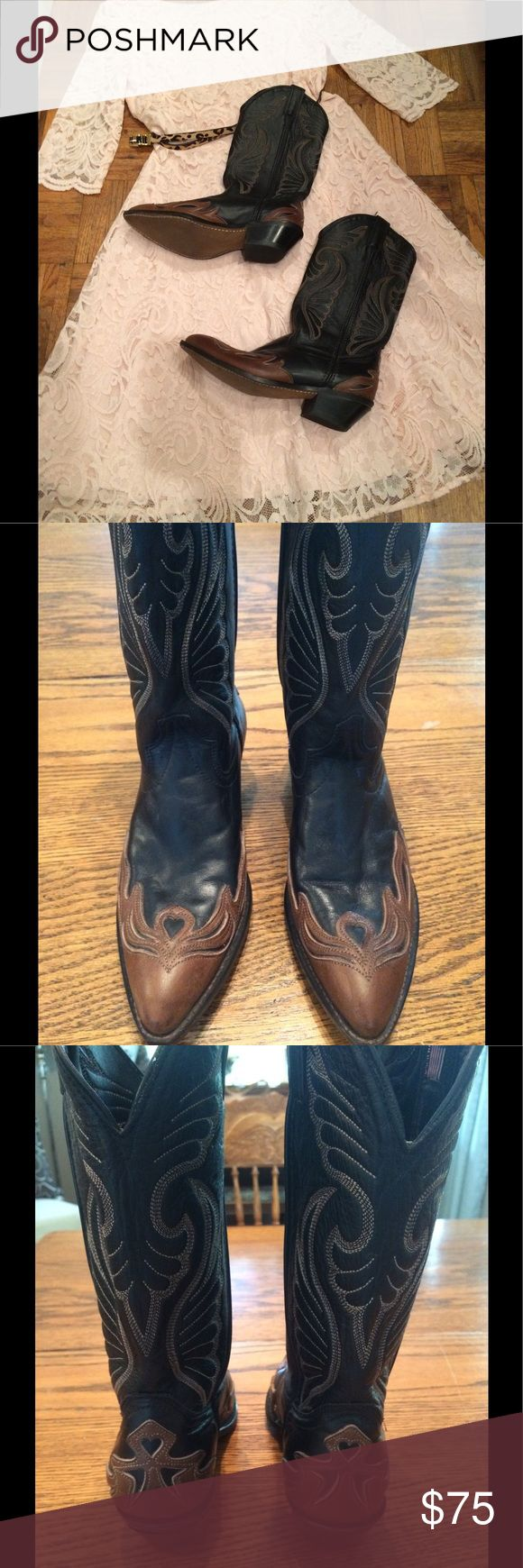"""Laredo Ladies Western Leather Boots Beautiful shape Laredo leather Western Boots size 8 M. Black with brown cut out leather at toe and heel and Cream/tan stitching  13"""" tall. Pointed toe. Very light signs of wear. Heel and sole in great shape. Good with the Boho look! Laredo Shoes Heeled Boots"""
