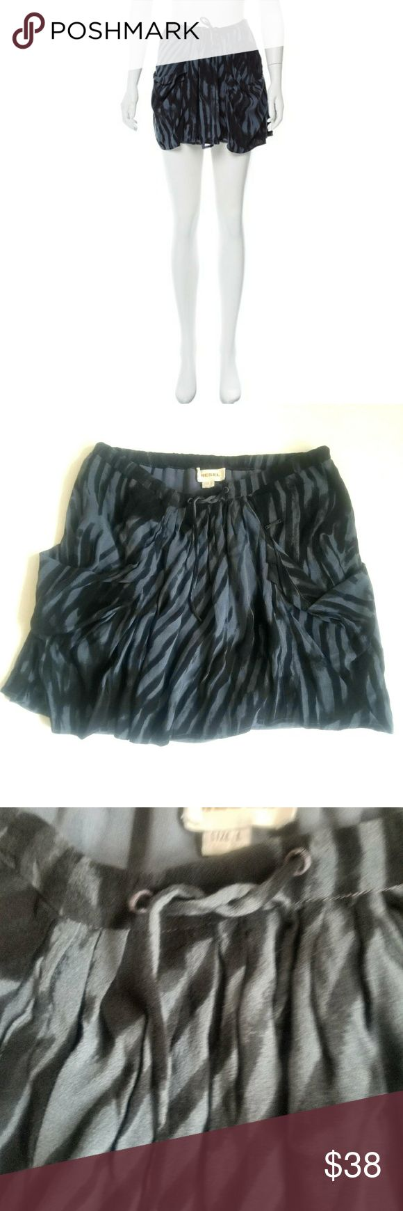 """💞💞DIESEL SLATE CREP MINI SKIRT 💞💞 Slate and black Diesel mini skirt with graphic print throughout, dual pockets and drawstring at waistband. Pre loved in excellent condition.  No snags holes or stains. Size large ... Fabric:100% Rayon...14"""" long. Diesel Skirts Mini"""