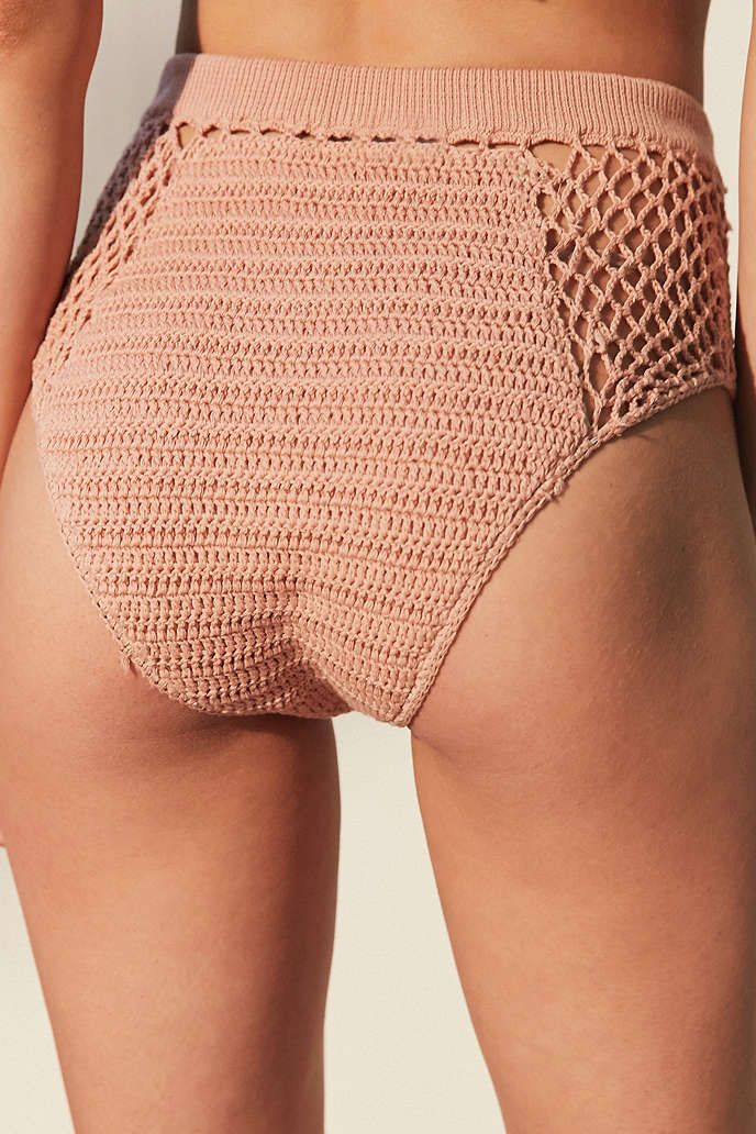 Somedays Lovin Daphne Peach Crochet High-Waisted Bikini Bottoms - Urban…