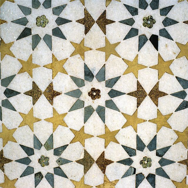 Detail of Tomb of Itmad-ud-Daula, Agra, Uttar Pradesh, India - tiles Indian pattern