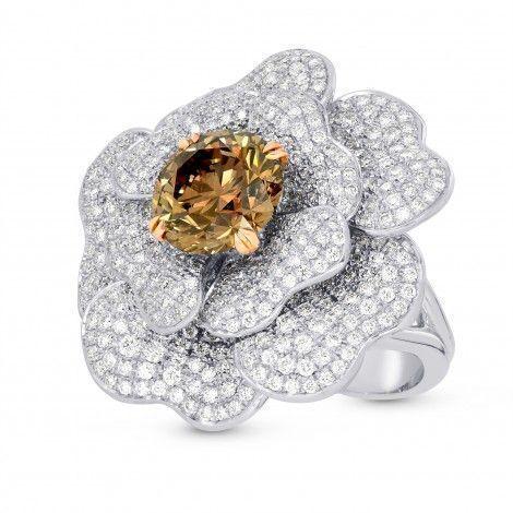 Fancy Orange Brown Diamond Pave Flower Ring #diamondring / diamond ring big / diamond ring / diamond ring for sale online / buy diamond ring online / shop diamond ring online