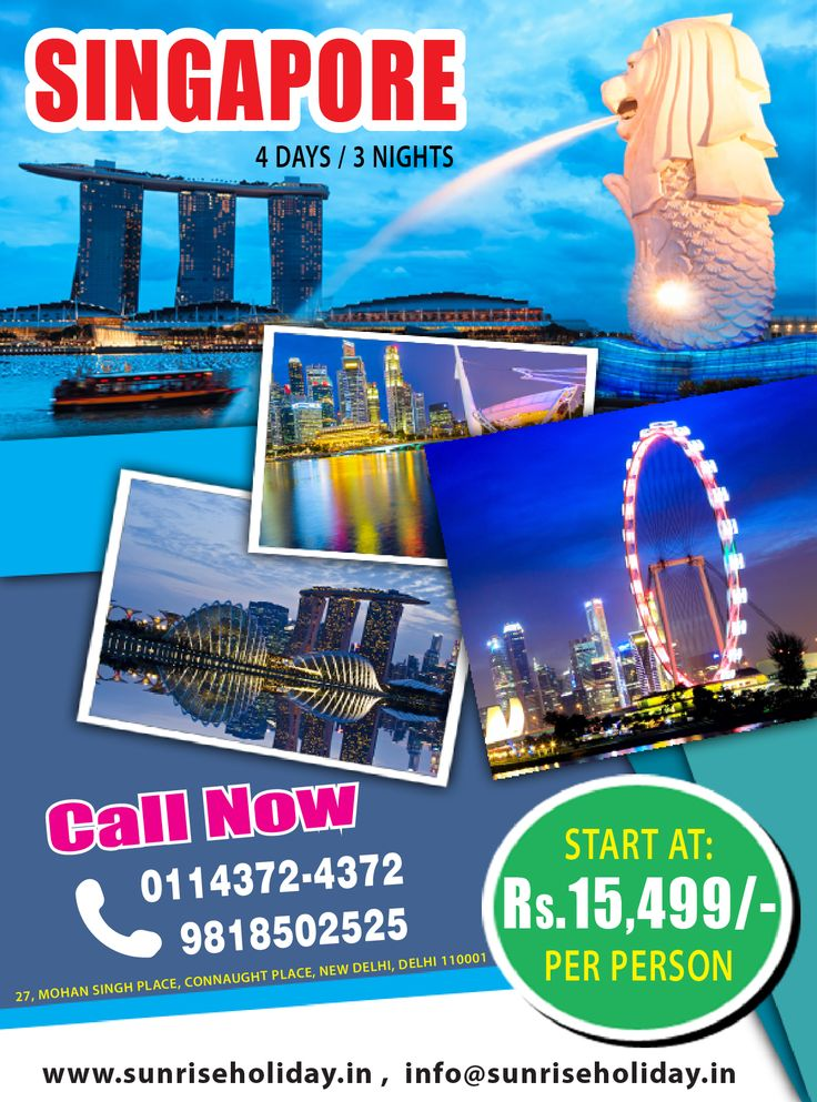 AIRTICKETS4U Offers Tour Package of  SINGAPORE  4 Days 3 Nights. Starting  Price @15499 Hurry up For Your Tour Booking in your budget. This is limited Offer. Call Now:- 011-4372-4372 09718502525 (Jasmeet Singh) 09818902525 (Akshay) or Email: support@airtickets4u.com Visit on Website: http://airtickets4u.com/