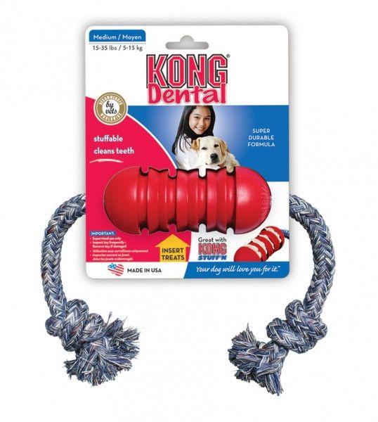 El Kong dental con cuerda es ideal para cuidar de los dientes de su perro mienras juega con el. Es un Kong con ranuras y con una cuerda para...