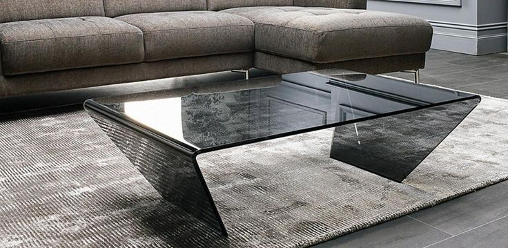 Bent glass coffee table in Dark Grey