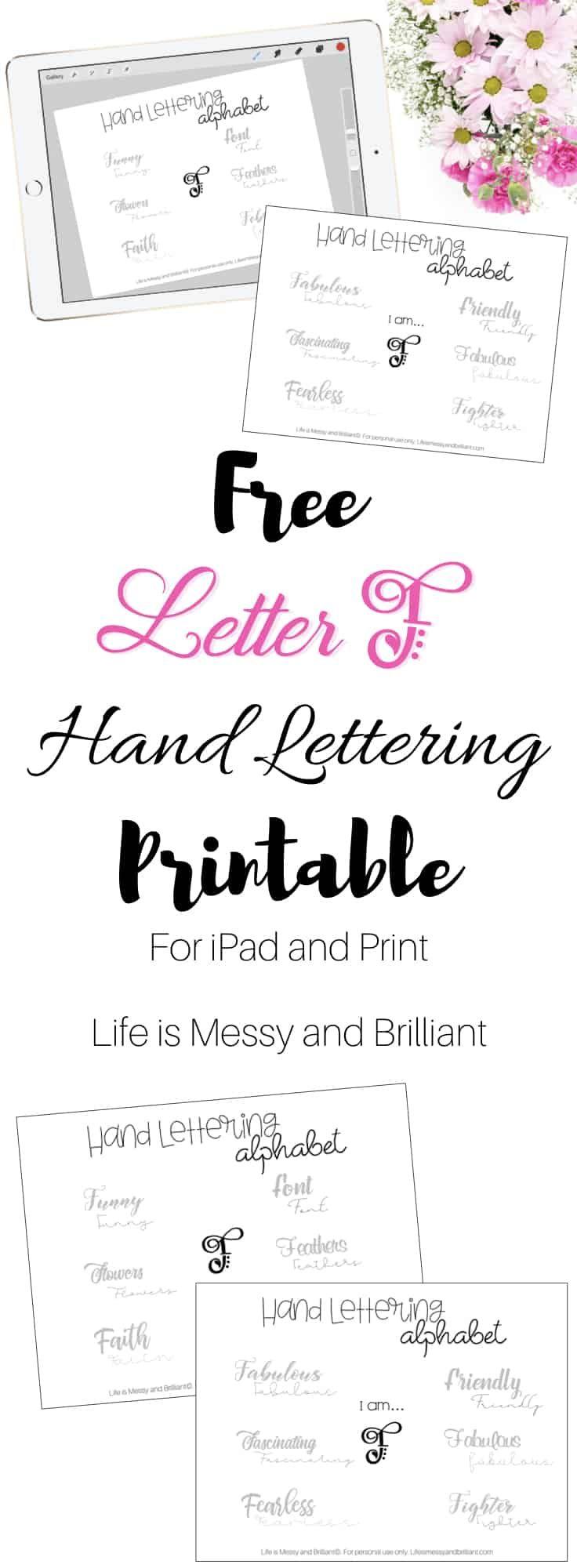 Predownload: Free Letter F Hand Lettering Alphabet Printable Hand Lettering Worksheet Hand Lettering Alphabet Lettering [ 2000 x 736 Pixel ]