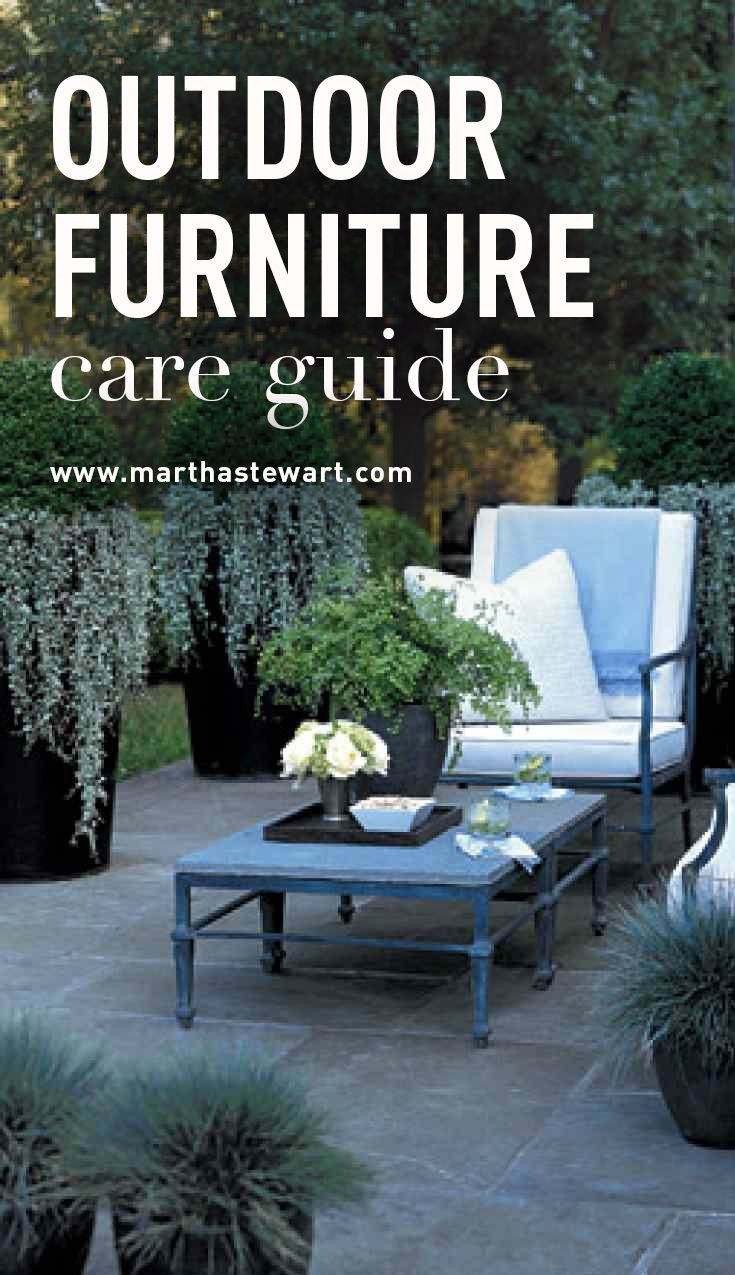Outdoor Furniture Care Guide | Martha Stewart Living - After a few seasons on the porch, your furnishings may start to show their age with rust marks, mildew, or stains. These general care tips will ensure that your chairs, tables, and cushions look beautiful for years to come.