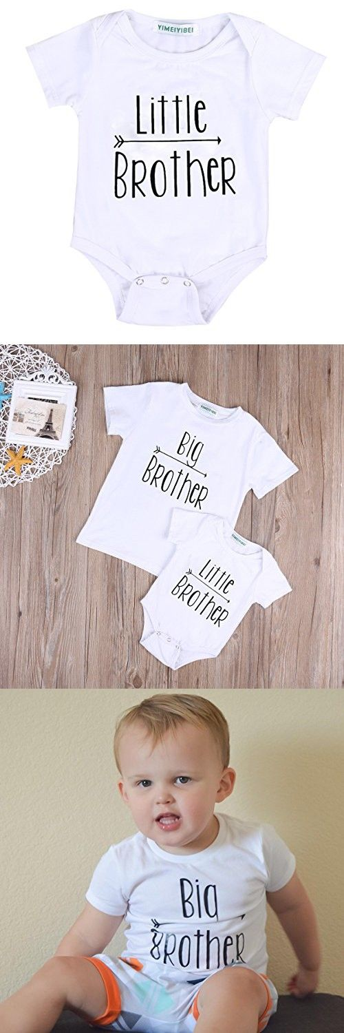 Little Brother&Big Brother Print Arrow Pattern Romper& T-shirt Tee Tops For Boys (0-3 M, little Brother)