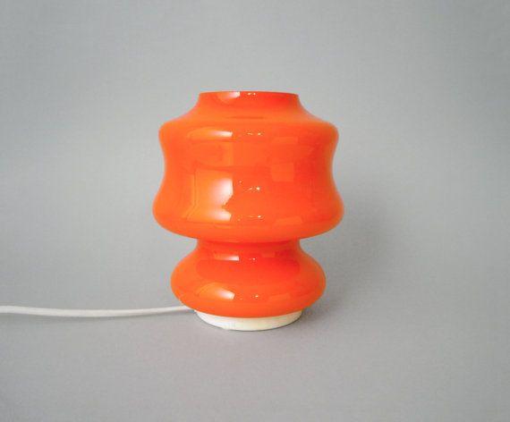 Vintage orange glass desk lamp hooped cased by LeKosmosBerlin