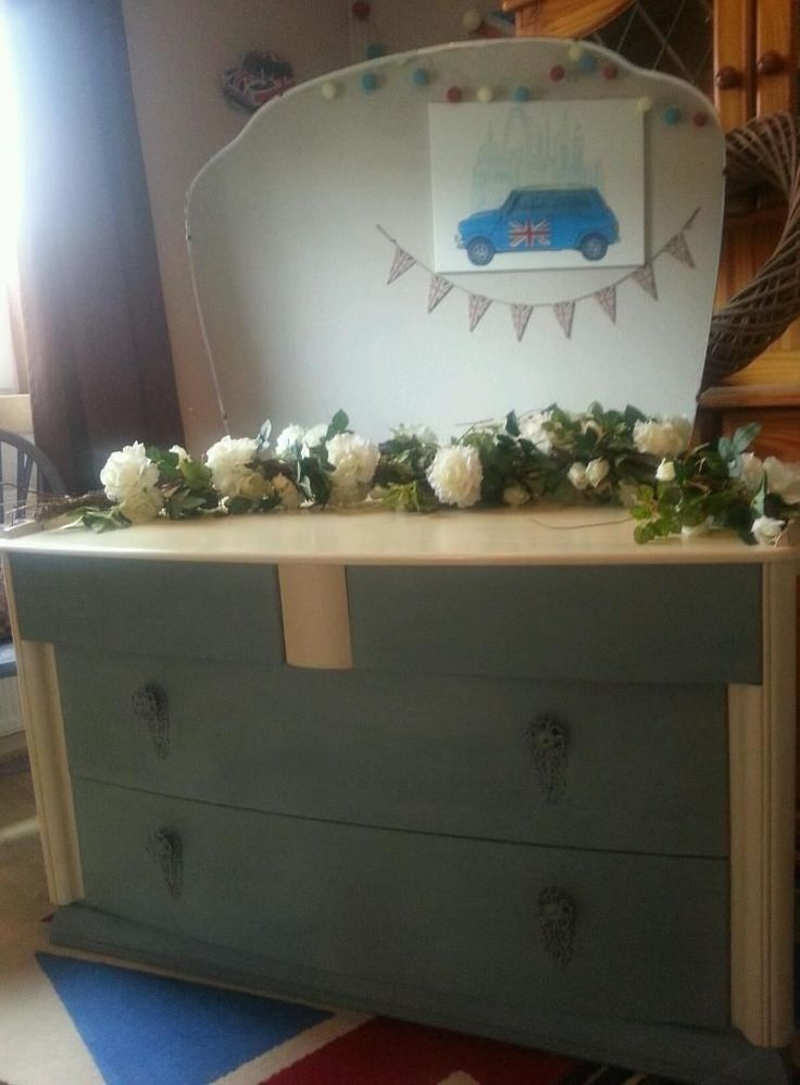 Beautiful handpainted vintage 1930s dressing table in immaculate condition. Painted in Duck Egg Blue and Cream Annie Sloan and has been treated with several coats of wax for protection. All handles are original and are very pretty. Make a statement in your bedroom with this eyecatching dressing table. Now for sale on Gumtree for £135 including Free Local Delivery. Please look at my other pins for photos of furniture sold. Colourmefurniture.