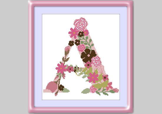 Letter A Cross stitch pattern personalized  Modern by MissCro