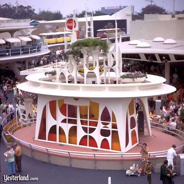 Tomorrowland in its heyday... Tomorrowland Stage 1967, Disneyland Hotel in the background.