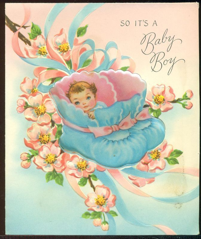 Vintage Birth Greeting Card SO ITS A BABY BOY Baby Sitting in Satin Baby Shoes