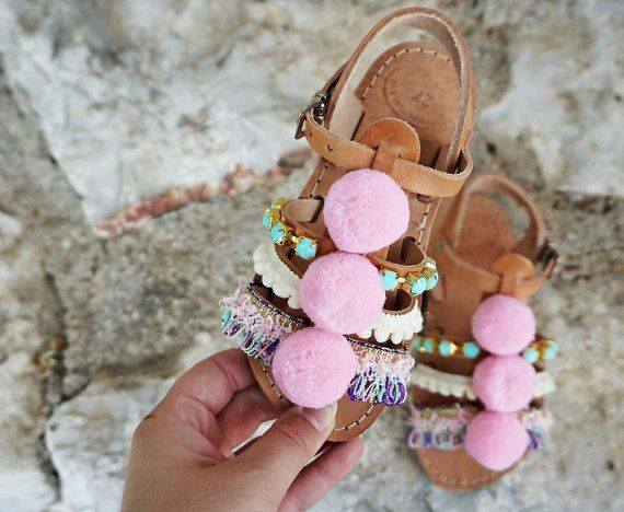 Pom Pom Carousel Sandals / Turquoise Resin Stones / by Twininas