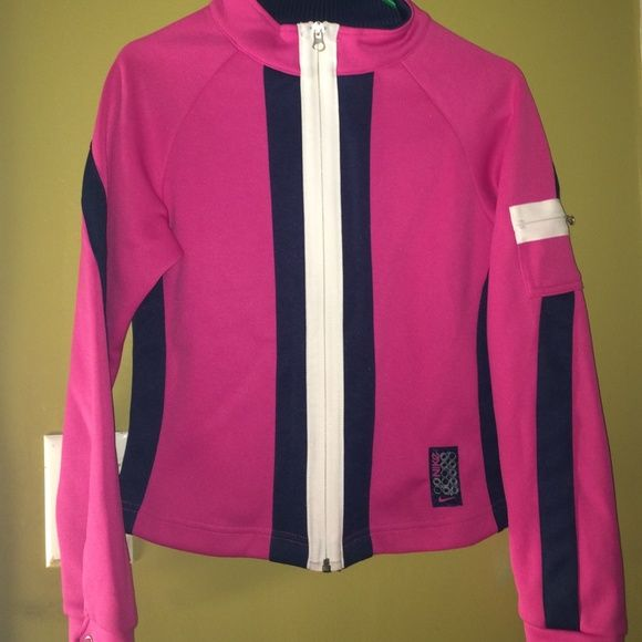 NIKE AIR PINK RUNNING JACKET SIZE L us 14 Nike Air jacket I Believe it might be youth size 14 size large because it looks really small for a large. Jacket would fit a women small or medium Nike Jackets & Coats