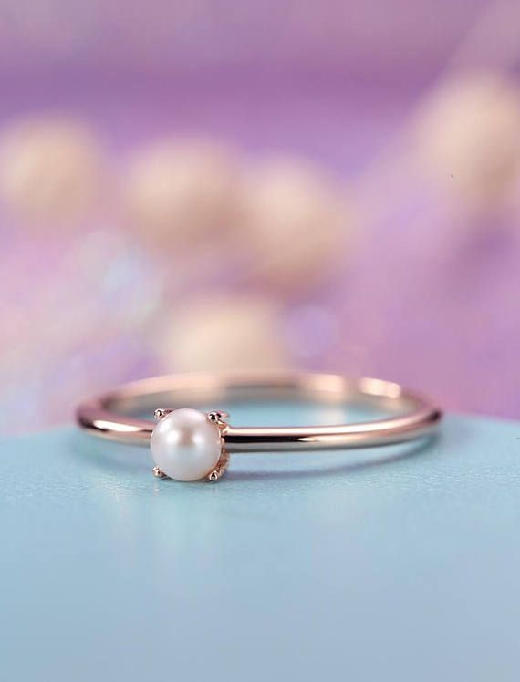 Pearl Engagement Ring Rose Gold Simple Minimalist Engagement Pearl Engagement Ring Rose Engagement Ring Gold Jewelry Sets