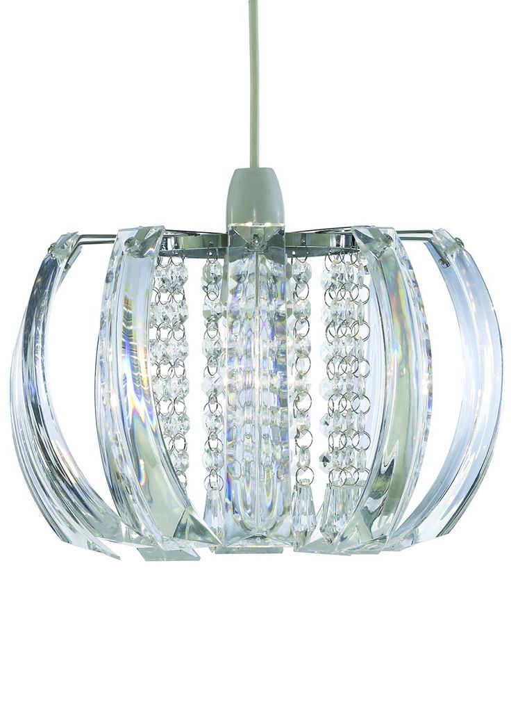 Ceiling Shade in a Chrome Finish with Clear Acrylic Droplets: Amazon.co.uk: Lighting