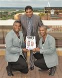 Councillor Elias Mattu with D'Votion (brothers Paul and Jonathan Smith) - wishing them good luck for the Time 2 Shine, UK Gospel talent search.