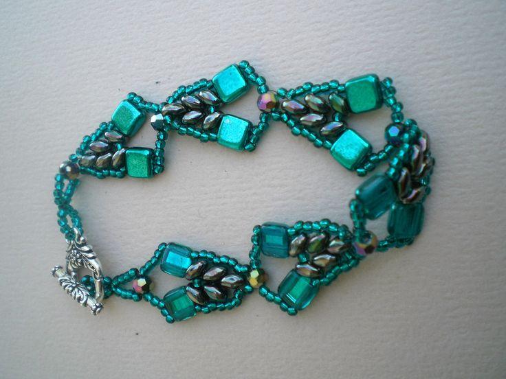 "Teal Mirror Tile ""Tahiti Bracelet"", Hig Fashion, Hand Beaded, Beadweaving; Shaped Beads by JazzyDazzleJewelry on Etsy"