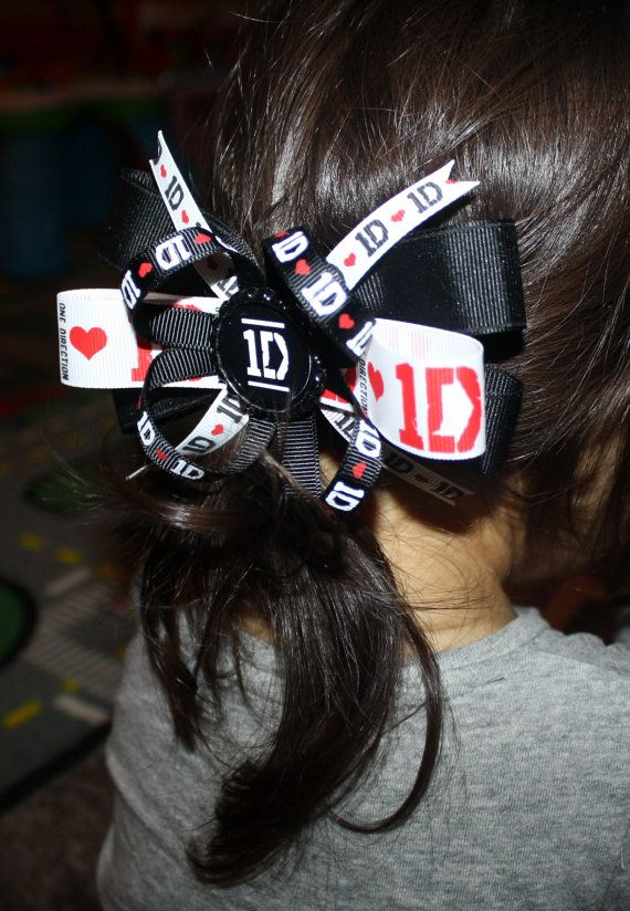 5quot one direction 1d logo ribbon boutique stacked hair bow