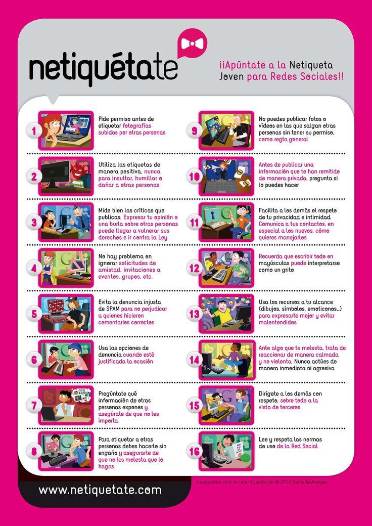 Netiqueta. Consejos para jóvenes acerca de cómo comportarse en redes sociales. IMPERATIVOS