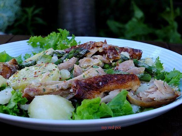 Pieczony kurczak z zielonymi dodatkami