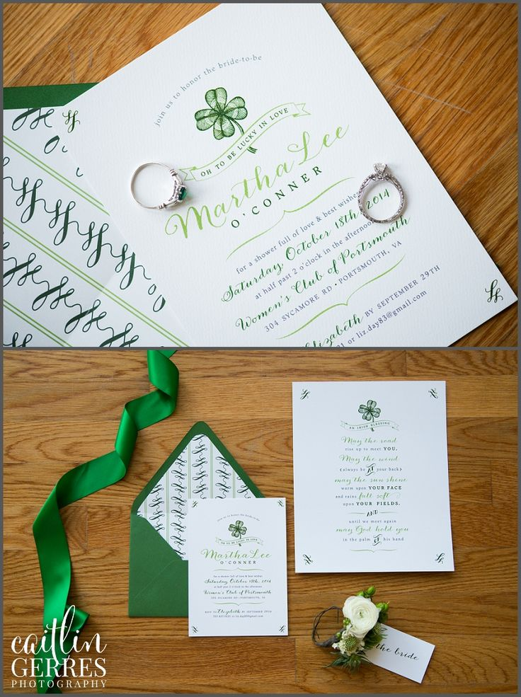 Shamrock Bridal Shower Invitation - St Patrick's Day Irish theme