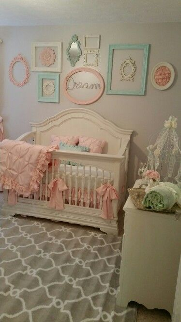 Nursery vintage shabby chic pink and mint green by stanton interior decorating and staging in west
