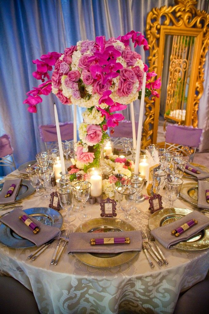 Royal lime purple and turquoise aqua wedding reception for Cool wedding table decorations