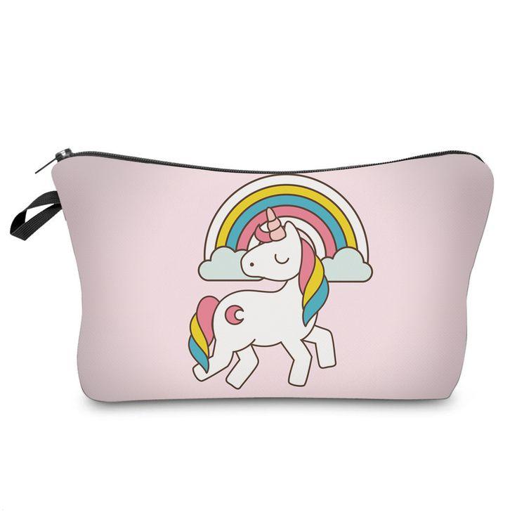 Unicorns & Rainbow Cosmetic Make-Up Case - Only $7.99