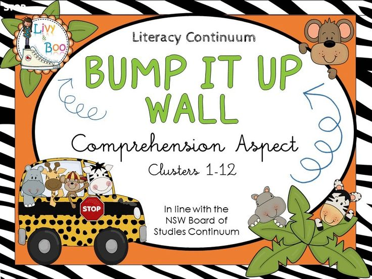 Bump It Up Wall - Australian Literacy Continuum - This super cute Safari/Jungle themed Bump It Up Wall includes all indicators in line with the NSW Board of Studies Literacy Continuum - Comprehension Aspect - Clusters 1 - 12.