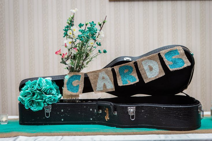 Rock & Roll Wedding inspiration theme. Guitar case for wedding cards. Wedding at crystal grand banquet hall.