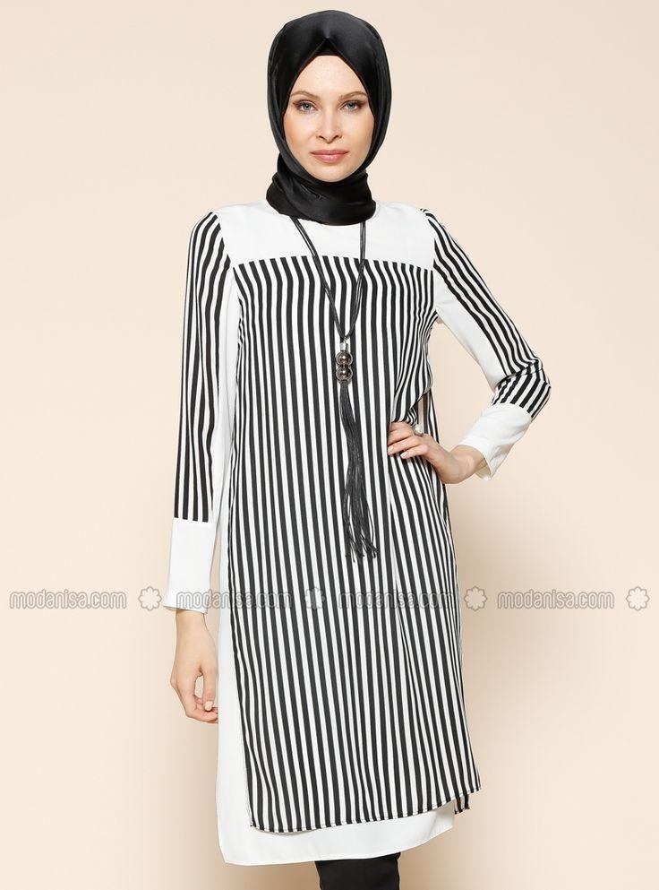 Stripe Tunic - Black - Tunics - Modanisa