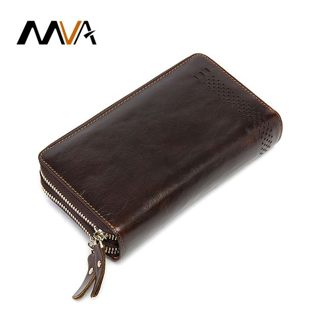 Good price MVA Genuine Leather Men Wallets Double Zipper Wallets Man Clutch Bag Phone Card Holder Coin Male Purse Leather Standard Wallet just only $19.27 with free shipping worldwide  #walletsformen Plese click on picture to see our special price for you