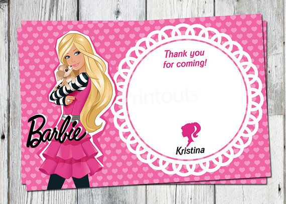 Barbie Thank You Card Printable Birthday Party By
