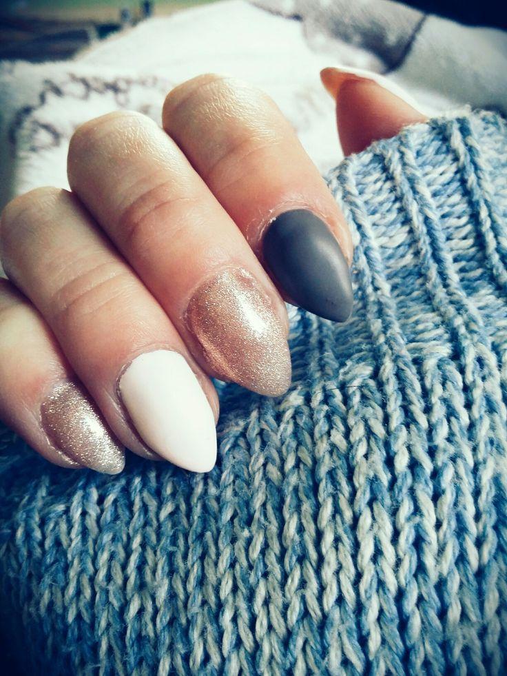 #Nails #Matt #glam #Natural #Almond #nude