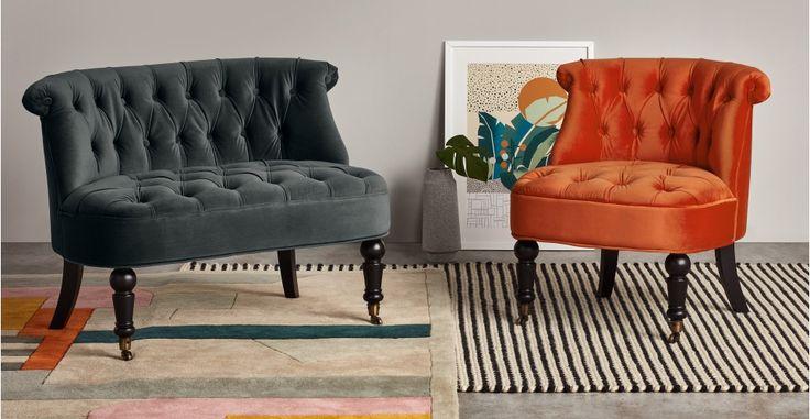Bouji Accent Chair, Flame Orange Velvet   made.com