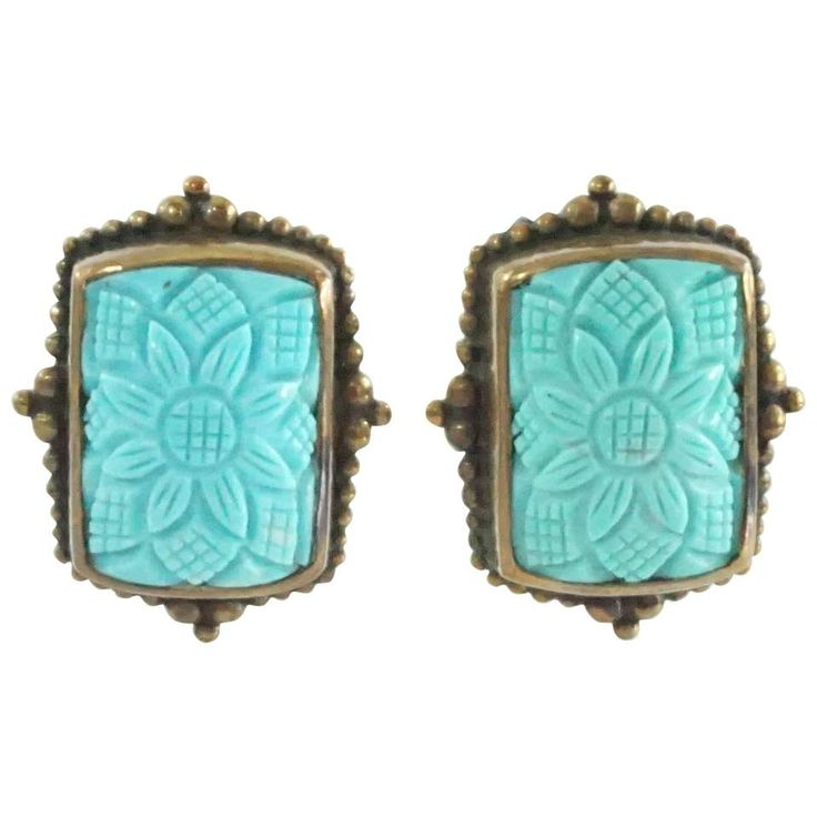 Stephen Dweck Turquoise and Bronze Earrings - NWT - 2001 Collection 1