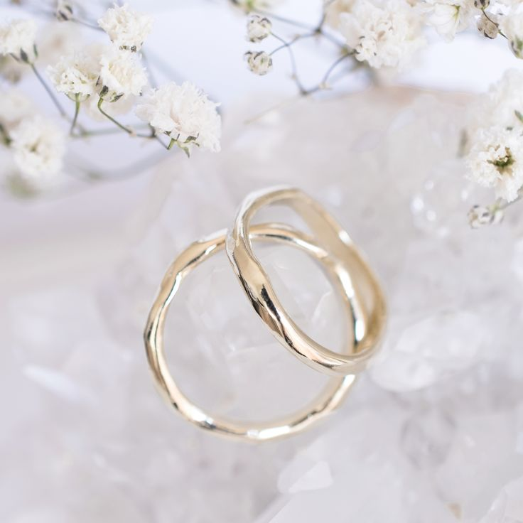 Drip Band and Middle Band made by 27JEWELRY /  yellow gold unique wedding bands