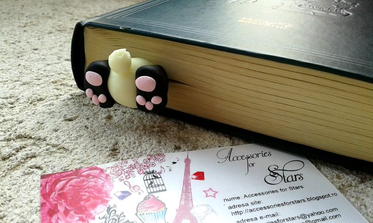 http://accessoriesforstars.blogspot.ro/2015/03/semn-carte-little-panda.html  #polymer #bookmarks #original #accessoriesforstars #books #bookmark #night #night #panda #funny #bear #black #ivory #pink