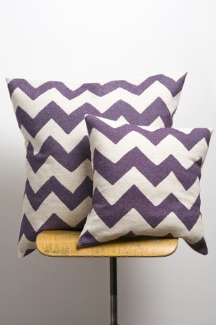 Chevy cushion, plum and linen, small