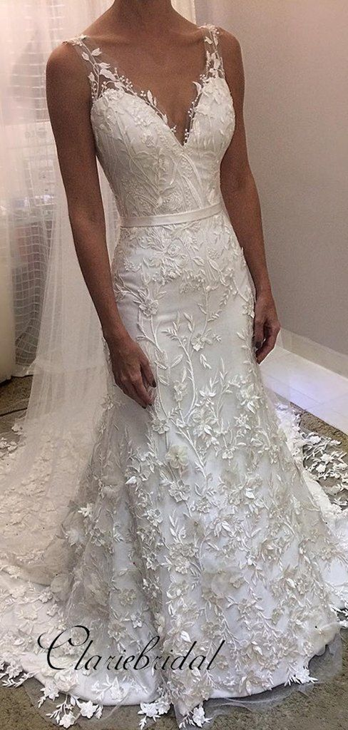 Elegant Lace Wedding Dresses, V-neck Modest Lace Wedding Dresses