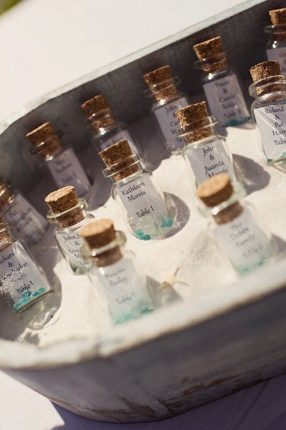 SO CUTE for a beach themed wedding reception! MessageInABottle Table Assignments  Set of 25 Bottles by ksoldo, $45.00