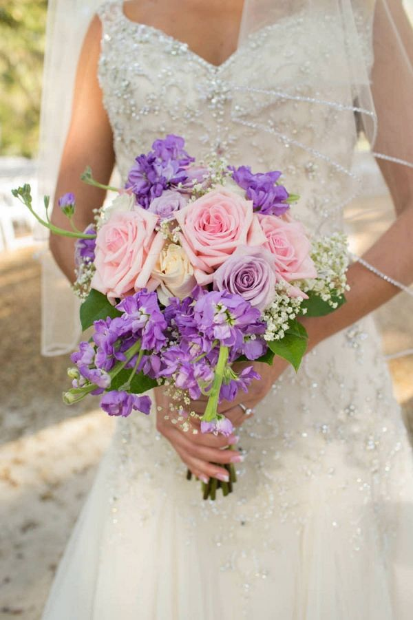 Bridal Wedding Portrait in Ivory, Beaded Lace Wedding Dress and Pink and Purple Bouquet of Flowers | Jeff Mason Photography on @marrymetampabay via @aislesociety