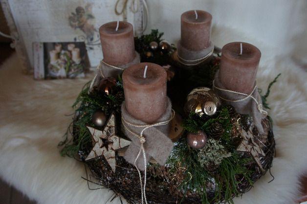 """Adventskranz - Adventskranz """" Waldweihnachten...."""" - ein Designerstück von Hoimeliges bei DaWanda"""