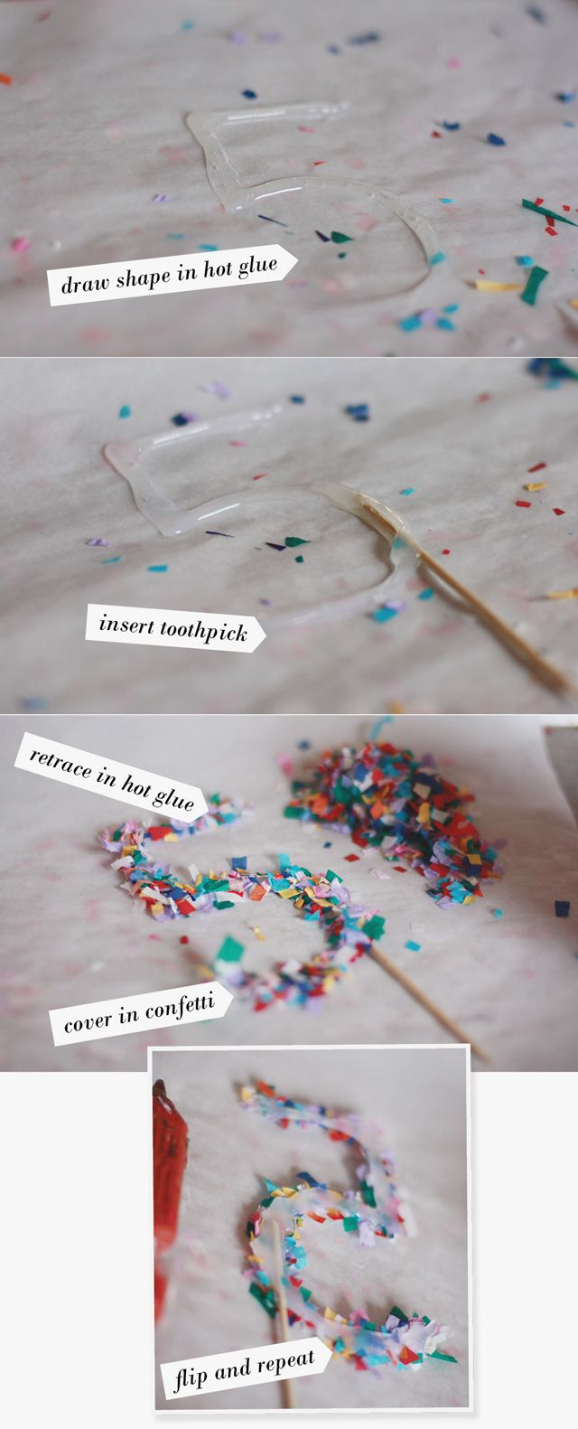 Confetti Cake Toppers Materials: •Parchment paper (NOT WAX PAPER) •Confetti shreds (click here for directions) •Hot glue and hot glue gun •Toothpicks
