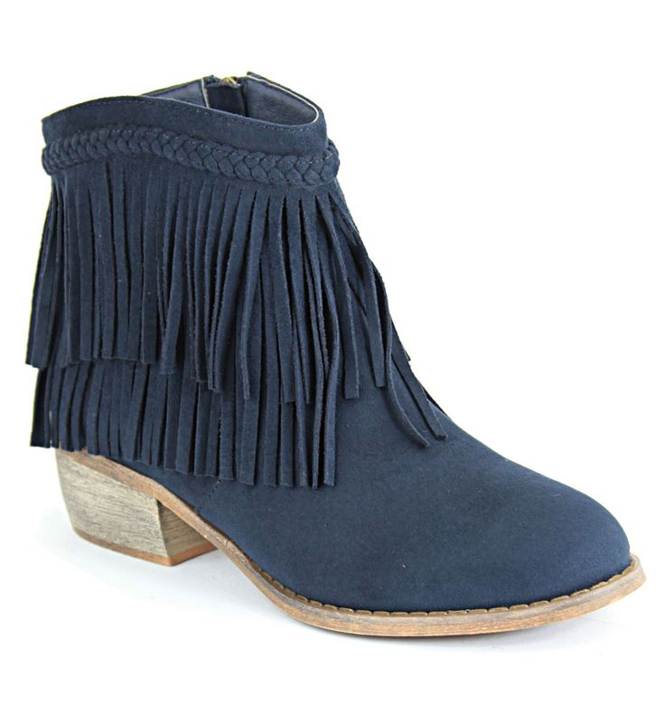 Blue fringed ankle booties
