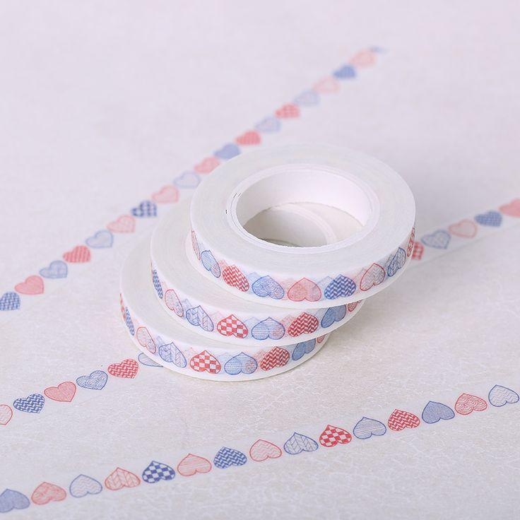1 Pz/pacco 8mm * 10 m Nastro Washi Decorativo Nastro Adesivo FAI DA TE Artigianato Accessori Deafting Cuore