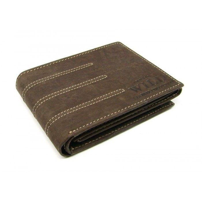 Kožená pánská peněženka hnědá - peněženky AHAL