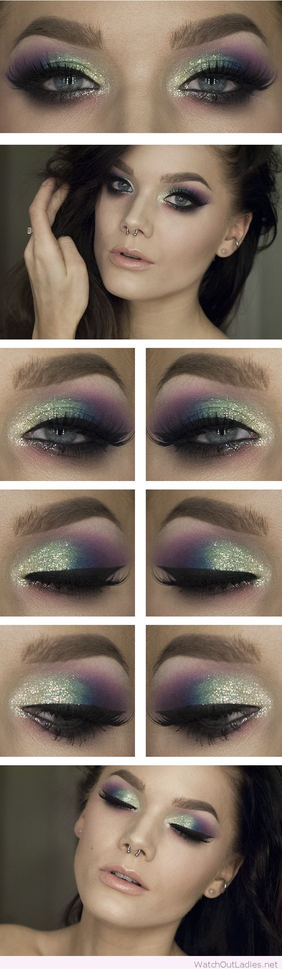 Green and purple with glitter eye makeup